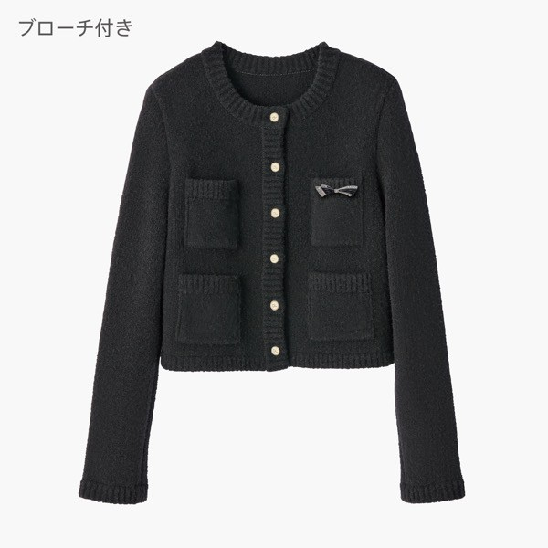 Teddy Jacket & Enamel Ribbon Set (Black Black)